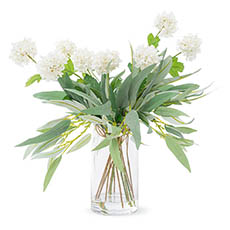 Artificial Flower Arrangements - Artificial Snowball & Eucalyptus Vase Arrangement (50cmH)