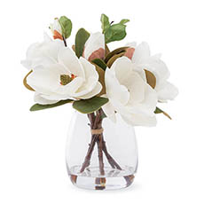 Artificial Flower Arrangements - Artificial White Magnolia Splendor Vase Arrangement (40cmH)