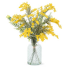 Artificial Flower Arrangements - Artificial Native Wattle Flower Vase Arrangement (70cmH)
