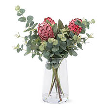 Artificial Flower Arrangements - Artificial Queen Protea & Eucalyptus Arrangement 54cmH Pink