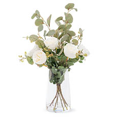 Artificial Flower Arrangements - Artificial English Austin Rose Vase Arrangement 48cmH Cream