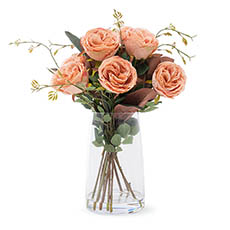 Artificial Flower Arrangements - Artificial English Austin Rose Vase Arrangement 48cmH Coral