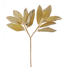 Artificial Metallic Leaves - Magnolia Leaves Spray Metallic Champagne Gold (73cmH)