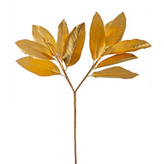 Artificial Metallic Leaves - Magnolia Leaves Spray Metallic Gold (73cmH)