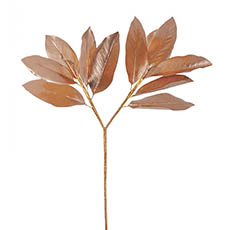Artificial Metallic Leaves - Magnolia Leaves Spray Metallic Rose Gold (73cmH)