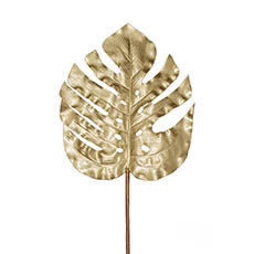 Artificial Leaves - Monstera Split Philo Leaf Metallic Champagne Gold (89cmH)