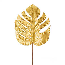 Artificial Leaves - Monstera Split Philo Leaf Metallic Gold (89cmH)