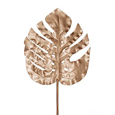 Artificial Leaves - Monstera Split Philo Leaf Metallic Rose Gold (89cmH)
