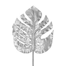 Artificial Leaves - Monstera Split Philo Leaf Metallic Silver (89cmH)