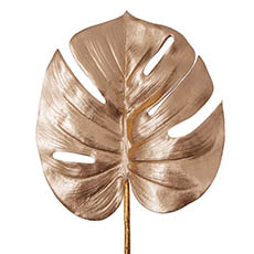 Artificial Leaves - Monstera Split Philo Leaf Metallic Rose Gold (59cmH)