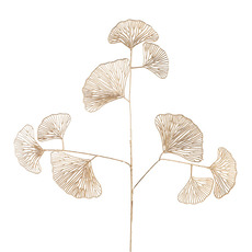 Artificial Metallic Leaves - Ginkgo Leaf Spray Metallic Gold (88cmH)