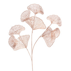 Artificial Metallic Leaves - Ginkgo Leaf Spray Metallic Rose Gold (88cmH)