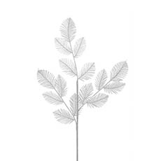 Artificial Metallic Leaves - Fern Leaf Spray Metallic Silver (75cmH)