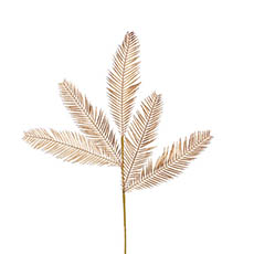 Artificial Metallic Leaves - Feather Fern Leaf Spray Metallic Gold (75cmH)
