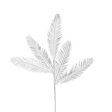 Artificial Metallic Leaves - Feather Fern Leaf Spray Metallic Silver (75cmH)