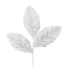 Artificial Metallic Leaves - Magnolia Leaf Spray Metallic Silver (75cmH)