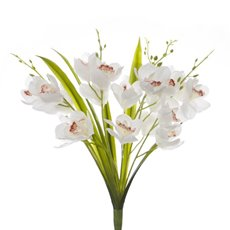 Artificial Orchid Bouquets - Cymbidium Orchid Bunch Real Touch 5 Stems White (55cmH)