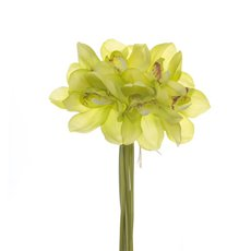 Artificial Orchid Bouquets - Cymbidium Orchid Bouquet Real Touch 6 Flowers Green (25cmH)