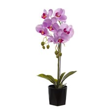 Artificial Orchids - Phalaenopsis Orchid Potted Real Touch 7 Flowers Pink (65cm)