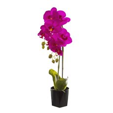 Phalaenopsis Orchid Potted Real Touch 7 Flowers Purple 65cm