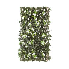 Greenery Walls - Artificial Ivy with white flowers lattice Wall ( 1Mt to 2Mt)
