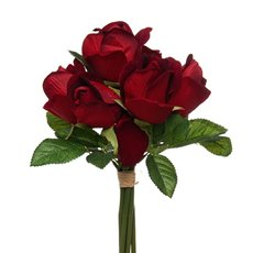 Rose Genna Bud Bouquet 7 Heads  Velvet Dark Red (26cmH)