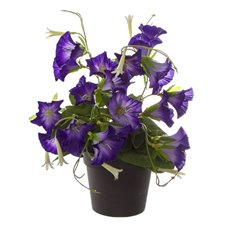 Artificial Plants - Artificial Petite Petunia Plant Potted Purple (29cmH)