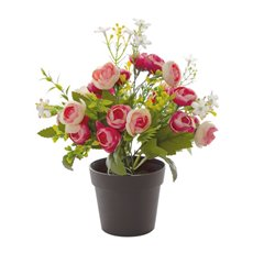 Artificial Plants - Artificial Petite Ranunculus Plant Potted Pink (29cmH)