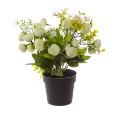 Artificial Plants - Artificial Petite Ranunculus Plant Potted White (29cmH)