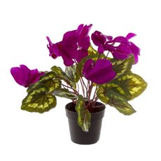 Artificial Plants - Artificial Petite Cyclamen Plant Potted Purple (30cmH)