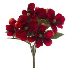 Other Artificial Bouquets - Magnolia Bunch 6 Heads Dark Red (35cmH)