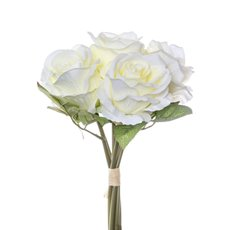 Artificial Rose Bouquets - Rosita Rose Bouquet x6 Flowers Cream (28cmH)