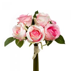 Artificial Rose Bouquets - Rosita Rose Bouquet x6 Flowers Pink (28cmH)