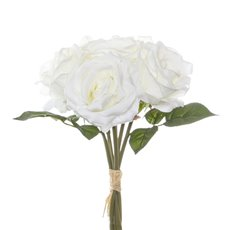 Artificial Rose Bouquets - Rosita Rose Bouquet x6 Flowers White (28cmH)