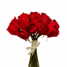 Artificial Rose Bouquets - Rosalie Rose Bud Bouquet x15 Flowers Red (28cmH)