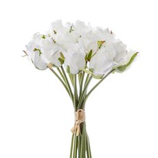 Rosalie Rose Bud Bouquet x15 Flowers White (28cmH)