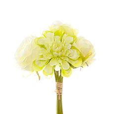 Other Artificial Bouquets - Dahlia & Cabbage Rose Bouquet Light Green (28cmH)