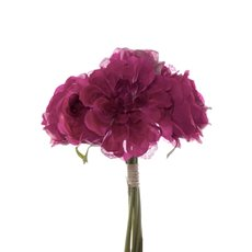 Other Artificial Bouquets - Dahlia & Cabbage Rose Bouquet Hot Pink (28cmH)