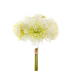 Other Artificial Bouquets - Dahlia & Cabbage Rose Bouquet White (28cmH)