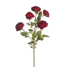 Artificial Roses - Anna Garden Rose Spray Red (73cmH)