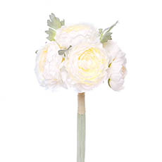 Artificial Peony Bouquets - Helen Peony Ranunculus Bouquet 6 Flowers Cream (30cmH)