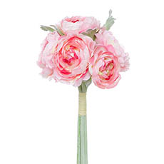 Artificial Peony Bouquets - Helen Peony Ranunculus Bouquet 6 Flowers Pink (30cmH)