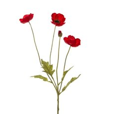 Poppy Spray 3x flowers 1x bud Red (60cm.ST)