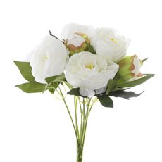 Artificial Rose Bouquets - Cabbage Rose Value Bunch Cream (44cmH)