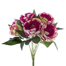 Artificial Rose Bouquets - Cabbage Rose Value Bunch Fuchsia Pink (44cmH)