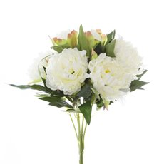 Artificial Peony Bouquets - Peony Value Bunch White (45cmH)