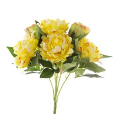 Artificial Peony Bouquets - Peony Value Bunch Yellow (45cmH)