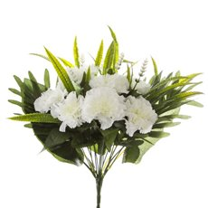 Other Artificial Bouquets - Carnation Value Bunch White (35cmH)
