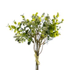 Artificial Leaves - Eucalyptus Fruit Bouquet Green White (34cmH)