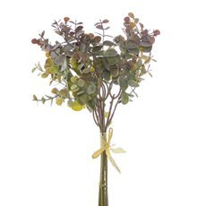 Artificial Leaves - Eucalyptus Mini Leaf Bouquet x6 Green Purple (34cmH)